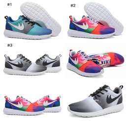 Wholesale 2016 New Roshe Run Print Eclipse Black Grey White Rainbow Ocean Zen Women Men Running Shoes Cheap Roshes Run Sport Trainers Size