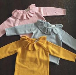 Wholesale Children sweater fashion autumn new girls falbala collar sweater INS new kids cotton knitting pullover sweater tops pink yellow gray A9217