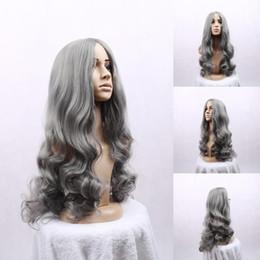 Wholesale Nueva marca caliente gris plata largo y rizado cosplay peluca de pelo de la fibra del maquillaje del MAC Salomon hermosas de la mujer de pelo sintético populares
