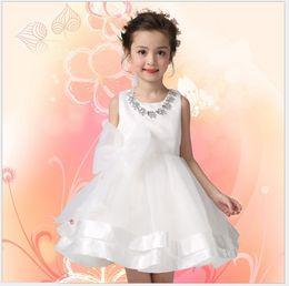 High Quality 2016 New Summer Girls Princess Dress White Lace Gauze Wedding Dresses With Necklace Children Sleeveless Vest Dress Kids Dress