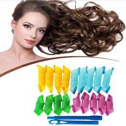DIY Magic Hair Curler Magic Leverag hair Rollers Magic Circle Hair Styling Rollers Curlers 18pcs+hook gift with Retail box