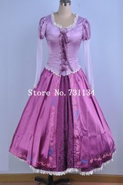 Brand New Adult Rapunzel Fancy Dress Anime Cosplay Costume Purple Princess Fairytale Tangled Printed Lace Dress For Women