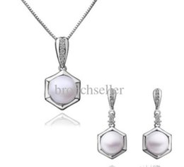 White Gold Plated White Pearl and CZ Rhinestone Crystal Bridesmaid Pendant Necklace and Stud Earrings Jewelry Set