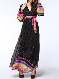 plus size 6XL long sleeve new arrival hot selling polyester chiffon dress floor length V shape neck fashion ladies' print dress