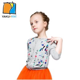Wholesale Gary Embroidered Cotton Knitted Cardigan Long Sleeve Birds Floral Sweater Fair Maiden Preppy Style Kids Wear YAKUYIYI