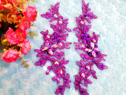 2016 new Handmade sequins Rhinestones patches Purple lace applique sew on Delicate embroidered 23*10cm for dress