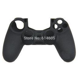 Promotion contrôleur ps4 couvercle du boîtier Noir de protection en silicone Gel Soft Cover Housse Sleeve pour Sony PS4 Controller couvercle code de couverture de studio