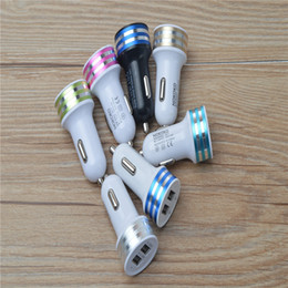 Universal Dual USB Port Car Charger 2.1A+1A for All Phones mixed color Free Shipping