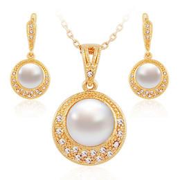 pearl perlas jewelry sets women fashion fine crystal 18k gold necklace earring bridal wedding Africa Nigeria classic popular set jewelrys