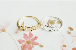 Fashion simple letter Amen script letter ring,Prayer ring Silver plating rose gold plating Jewelry For Women A single sale