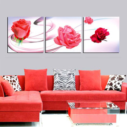 Unframed 3 Pieces art picture free shipping Canvas Prints rose tree Cartoon flower tulips Daisy butterfly autumn