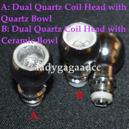 Lastest Dual Quartz Wax Coil Quartz Bowl For Wax Glass Globe Bulb Atomizer Wax Coil Dual Quartz Replacement Coil Head for glass wax atomizer
