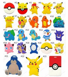 Wholesale Cartoon Luggage Tags Fashion Suitcase Tag Pikachu Silicone Luggage Tags Cartoon ID Address Baggage Tags Christmas Gift desgigns D706