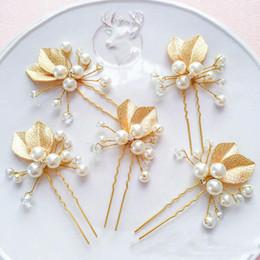 Wholesale 2017 Fashion wedding accessories hair pieces gold faux pearl bridal headpieces U pins bridal hair rhinestone bridal headbands