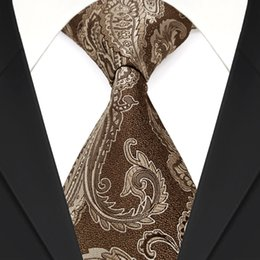 Wholesale F3 Paisley Brown Caramel Camel Mens Ties Neckties 100% Silk Jacquard Woven New Free Shipping Fashion Suit Gift For Men