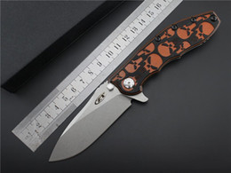 Wholesale 2016 High End OEM ZT Flipper Folding Knife D2 HRC Stone Wash Finish Blade Knife Ball Bearing System EDC For Camping Outdoor Tools