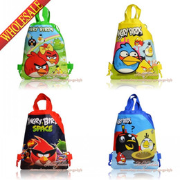 Wholesale Lovely Birds Cartoon Drawstring Backpack Kids School Shoppping Bags Non Woven cm Party Gift
