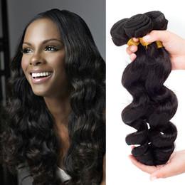 Peut teindre remy extensions de cheveux en Ligne-Cheap Virgin Peruvian Hair Weave Extensions de cheveux humains 8 '' - 28 '' Loose Wave 3Pcs / Lot Naturel Noir Peut être teint Remy Hair Extension Weft Remy