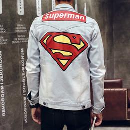 2016 New Denim Jacket Hommes Superman Imprimer printemps Fashion Design Sweatshirt Hommes Jeans Vestes Slim Fit Casual Hip Hop manteaux à partir de mince vestes en denim ajustement fabricateur