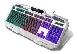 Wholesale Luminous Backlit Keyboard - Ice Wolf K8 backlit mechanical touch keyboard Computer cable luminous lol game metal keyboard cf Internet cafe