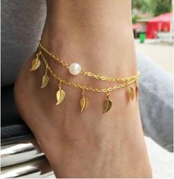 Las mujeres atractivas de oro en venta-joyería boho mujeres atractivas tobilleras para mujer deja de oro de la joyería de imitación de la perla blanca de la borla encantos pulseras de tobillo para pulseras