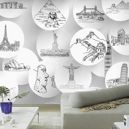 Wholesale Custom photo Silk D wallpaper for walls D Living room office hotel TV background wall covering architecture mural wallpaper