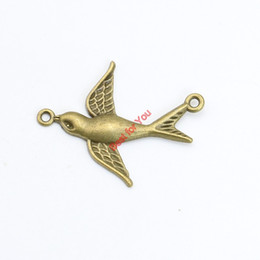 20pcs Antique Bronze Plated Birds Connector Pendants Jewelry Making DIY Jewelry Findings 37x23mm