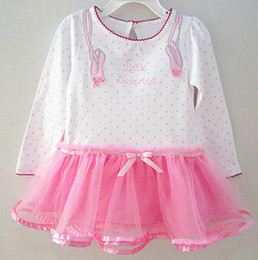 Wholesale Infant polka baby birthday dress little ballerina dress long sleeves pink hem softer mesh fabric design