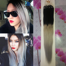 100g 7a Micro Loop Brazilian Extensions ombre Grey Hair Extensions Micro Ring Human Hair Extensions Brazilian Remy Virgin Hair Straight