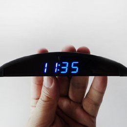 Wholesale New LED digital car clock automobile electronic clock V car voltmeter and thermometer clock for car