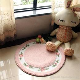 Wholesale Cute Round Kids Play Mat Home Living Room Bedroom Area Carpet Soft Fleece Non slip Kitchen Floor Mat Pastoral Circle Yoga Tapete