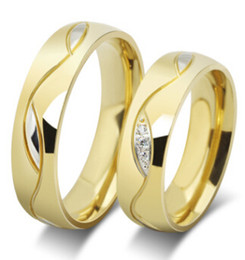 Diamond Stainless Steel Couple Rings For Men Women Wedding Jewelry Crystal Ring Gold Color Wholesale New