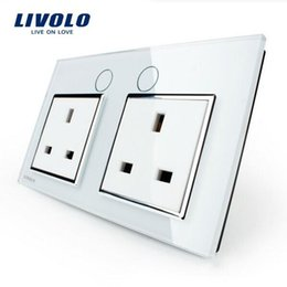 Livolo UK Standard Wall Power Socket, VL-C7C2UK-11,White Crystal Glass Panel, Manufacturer of 13A Wall Outlet