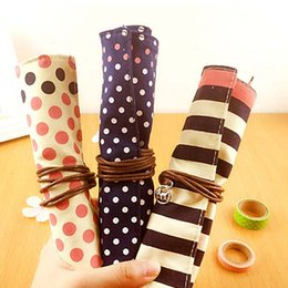 New Lovely Pencils Case Portable Student Stationery Storage Pencil Bag School Office Supplies Canvas Roll Fashion Gifts