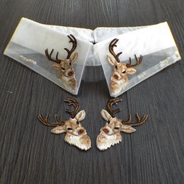 20pcs lot Deer Head full Embroidered patches iron on Motif Applique embroidery garment bag Jeans accessory 10pair