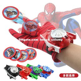 Wholesale DHL Extraordinary Spiderman Gloves Children s Toy Wrist Launcher Batman Glove Anime Toy Iron Man Birthday gift for boys girls