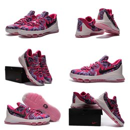 Wholesale with shoes Box Kevin Durant KD VIII Men Basketball Shoes PRM EP Aunt Pearl Kay Yow Pink Kids shoes
