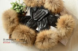 Oversized luxury raccoon quality ball winter warm females womens ladies sheepskin Genuine Leather gloves fur palm touch screen velvet gloves