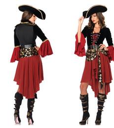 Les femmes pirates ceintures à vendre-pirates gros-cosplay partie des vêtements Caraïbes rouge femmes sexy adulte uniforme carnaval costume de halloween dresshatbelt chaud