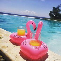 Flamingos Inflatable Drink Cup Holder Bottle Holder Pink Floating Can Holder Lovely Pool Bath Toy 10pcs lot