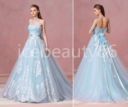 Wholesale 2017 fusion of romantic and dreamy light blue lace tone the woman s dress from L atelier Mariage is stop you beautiful Wedding dress