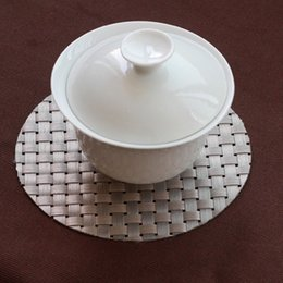 Wholesale PVC Textilene Placemats Silver Dining Cup Mat Heat Insulation Table Decoration CM Set of
