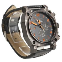 Promotion la montre-bracelet pour hommes V6 Noir Faux Cuir Mode Hommes Montre-bracelet Sport Montre bracelet à quartz de haute qualité du module de montre à bas prix