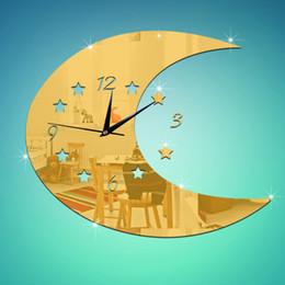 Wholesale 1PCS Crylic Wall Clock MOON Stars DIY Irregular Mirror Clock Wall Stickers No Sound Living Room Fashion GOLD SILVER