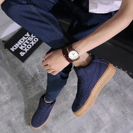 Wholesale 2016 Hot Sale Rihanna Suede Creepers Men women Casual Shoes Shoes size RTLQW0016 outdoor shoes