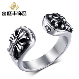 Wholesale 50pcs European and American retro punk style jewelry ring titanium steel cross pattern Men s Rings RC
