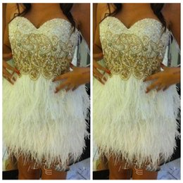 Wholesale 2017 Vogue Cocktail Dresses Feather Skirt Short Mini Beaded Pearls Women Luxurious Bling Bling Special Occasion Dress Prom Gowns