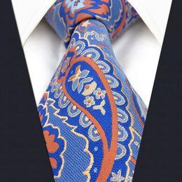 P16 Paisley Floral Blue Orange Multicolor Extra Long Size Mens Neckties Ties 100% Silk Jacquard Woven Handmade