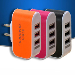 New Wall Charger Travel Adapter For Iphone 6S Plus Colorful Home Plug LED USB Charger For Samsung S6 3 Ports Usb Charger DHL CAB122