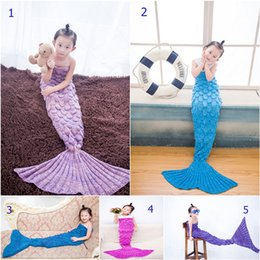 Wholesale Kids Mermaid Tail Blankets Scale Blankets Cocoon Mermaid Tail Sleeping Bags Knit Crochet Blankets Air Condition Handmade Blankets